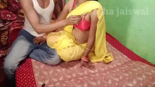 Young mother-in-law in yellow saree Chudai mother-in-law, mother-in-law, you look cool l