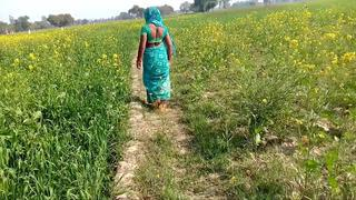 Rubbing the country bhaji in the wheat field